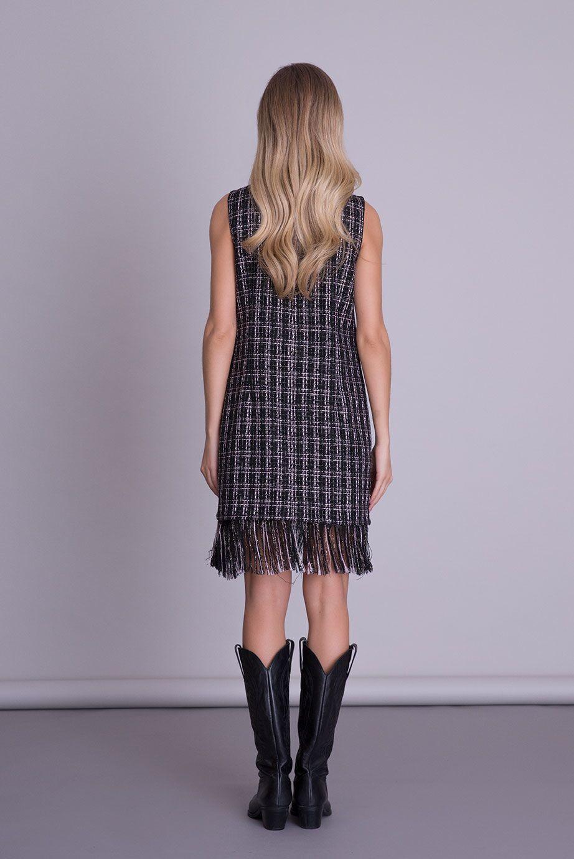 Etek Ucu Püskül Detaylı Mini Tweed Elbise