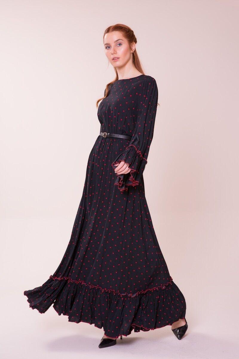 Kırmızı Puantiyeli Siyah Elbise