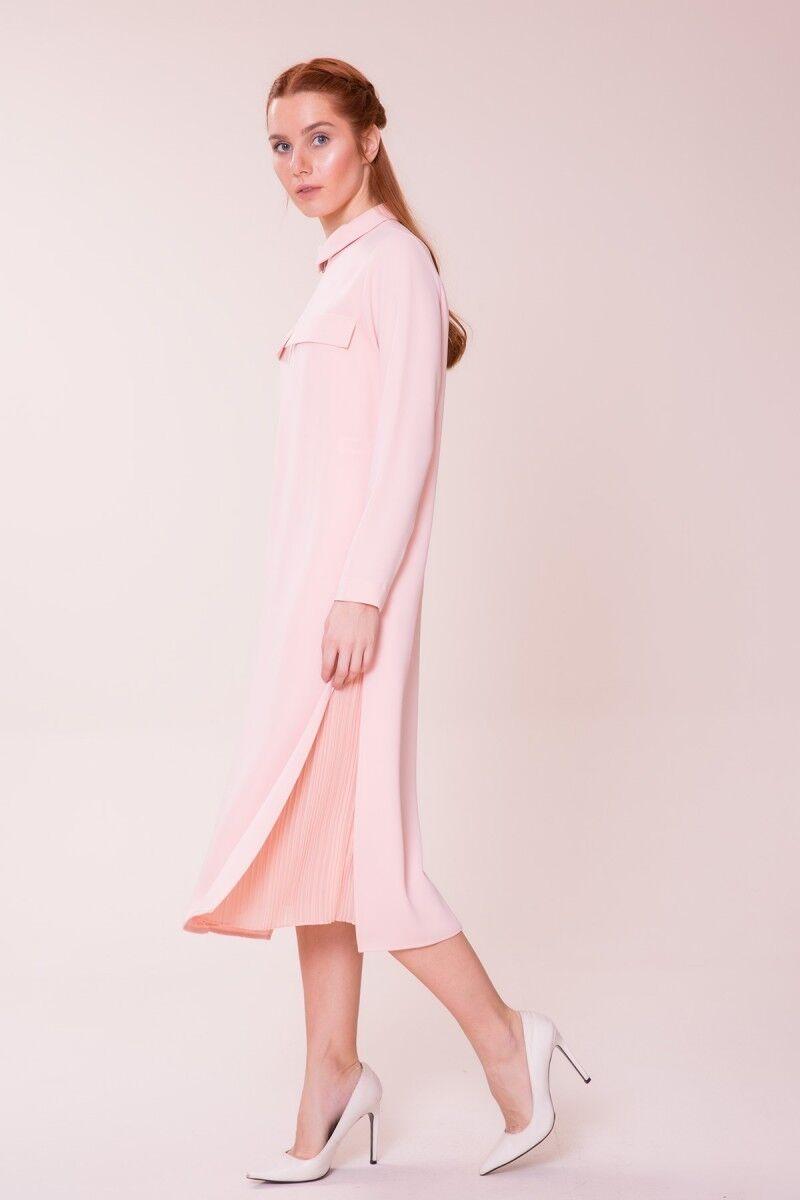 Pilise Detaylı Açık Pembe Elbise