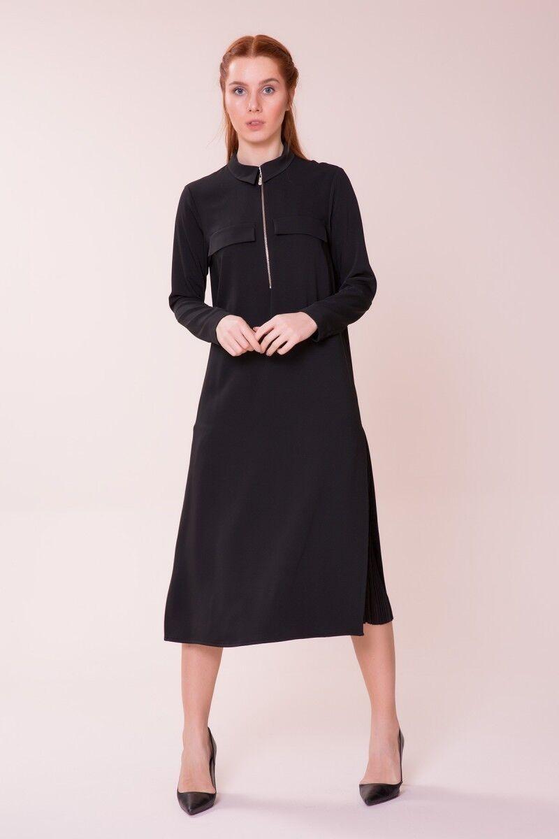 GIZIA CASUAL - Pilise Detaylı Siyah Elbise
