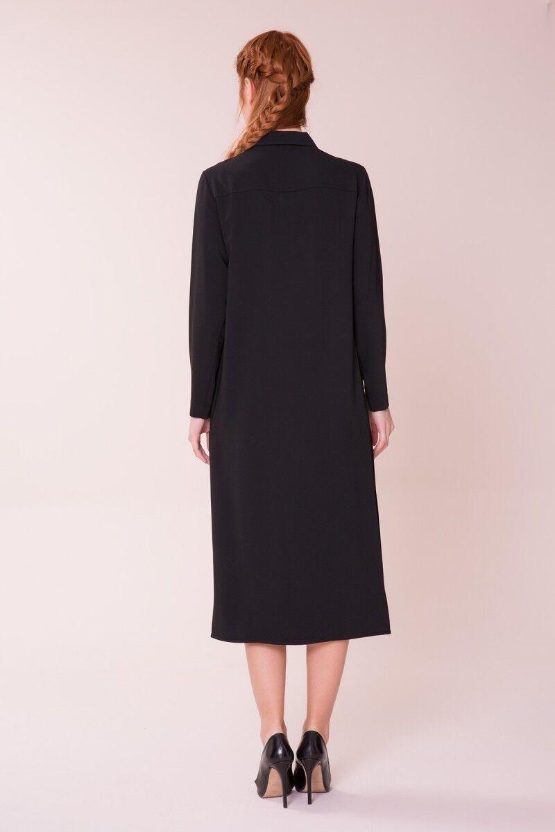 Pilise Detaylı Siyah Elbise