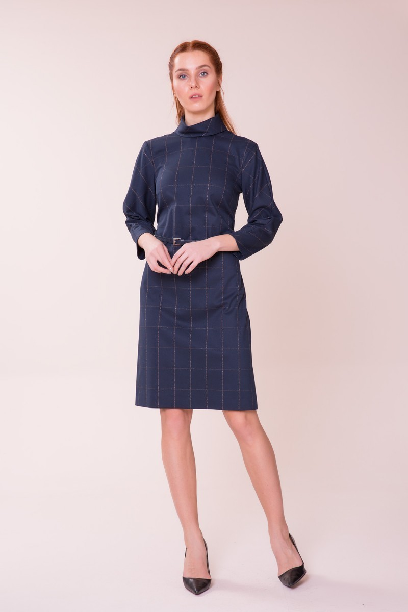 GIZIA CASUAL - Kemer Detaylı Lacivert Elbise