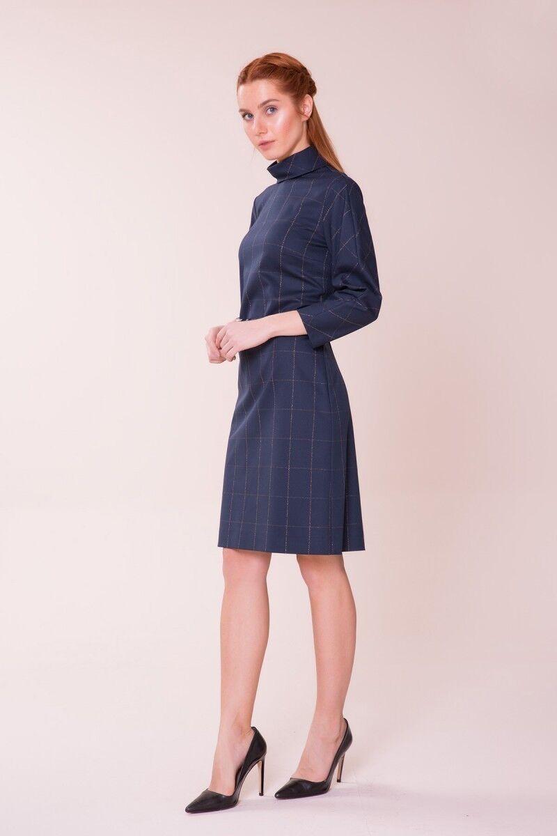 Kemer Detaylı Lacivert Elbise
