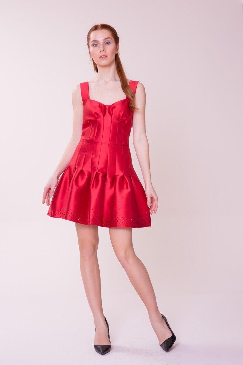 GIZIA CASUAL - Etek Ucu Detaylı Kırmızı Mini Elbise