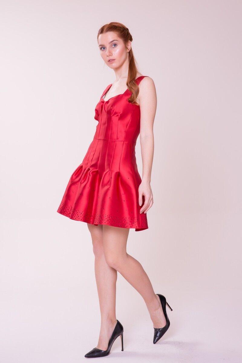 Etek Ucu Detaylı Kırmızı Mini Elbise