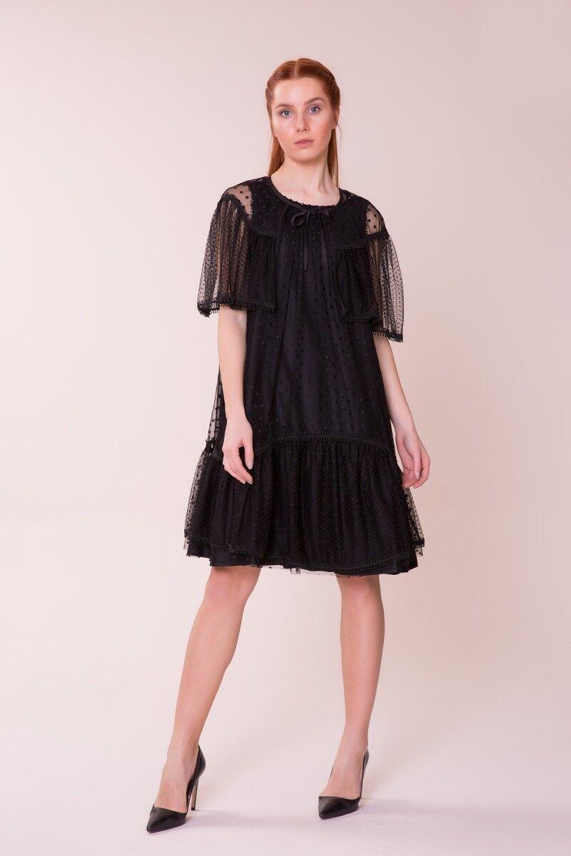 GIZIA CASUAL - Puantiye Detaylı Siyah Elbise
