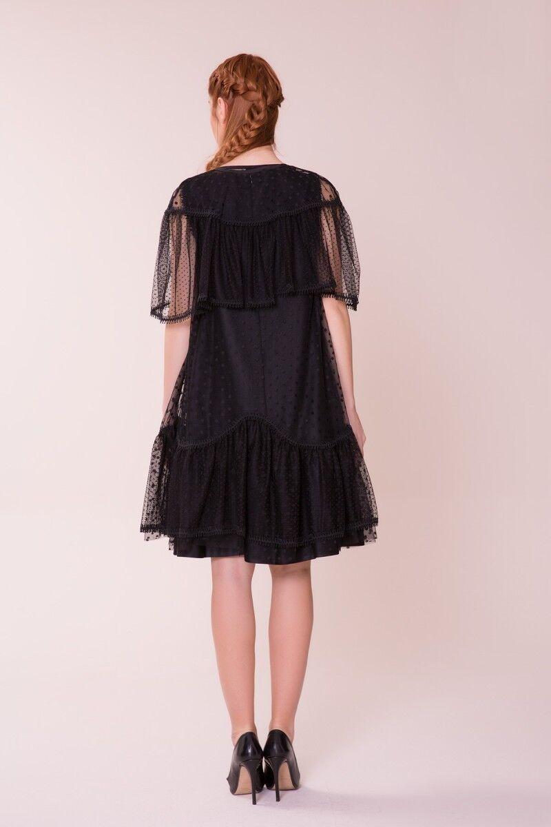 Puantiye Detaylı Siyah Elbise