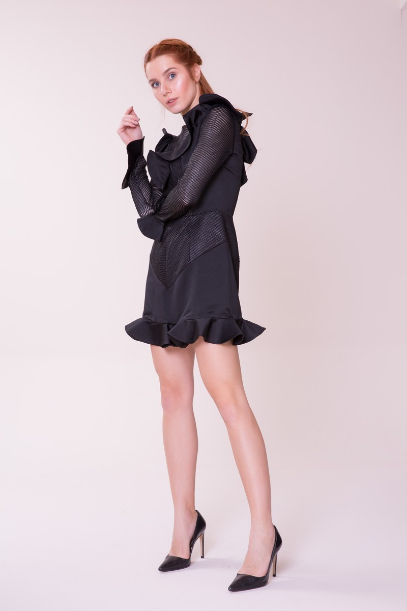 1e8ff20a334a ... GIZIA CASUAL - Ruffle Detailed Black Mini Dress