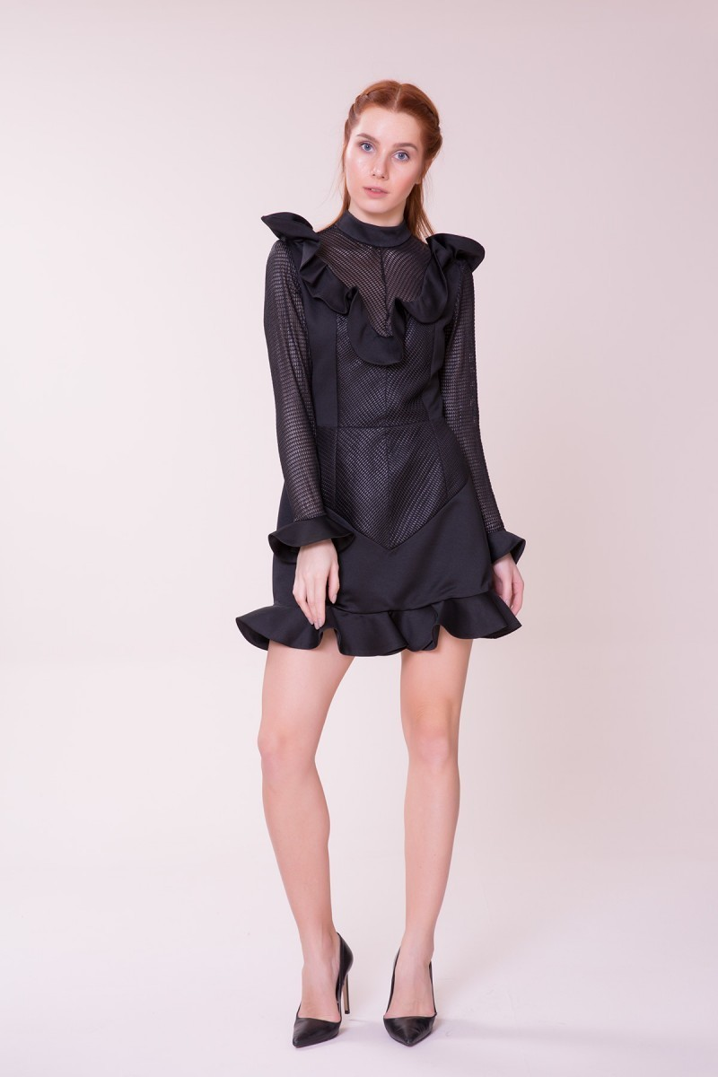 Fırfır Detaylı Siyah Mini Elbise