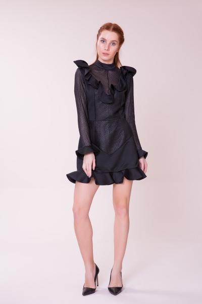 GIZIA CASUAL - Fırfır Detaylı Siyah Mini Elbise