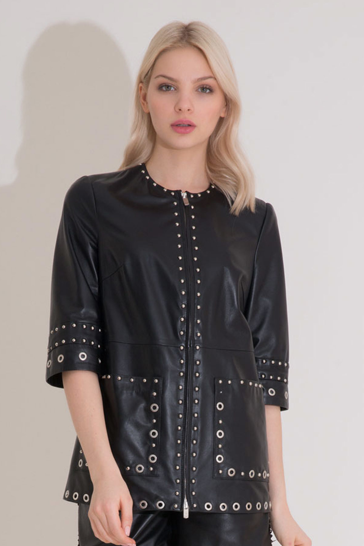 Eyelet Detailed Leather Jacket