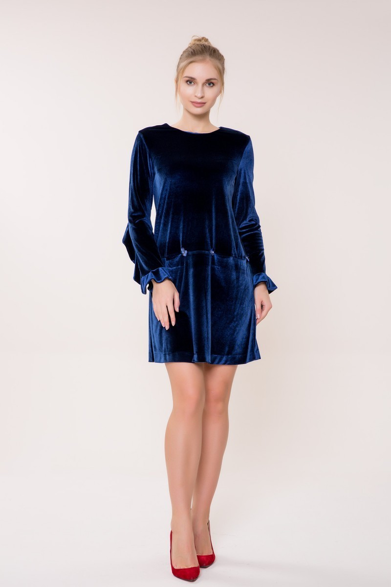 GIZIA CASUAL - Uzun Kollu Lacivert Kadife Elbise