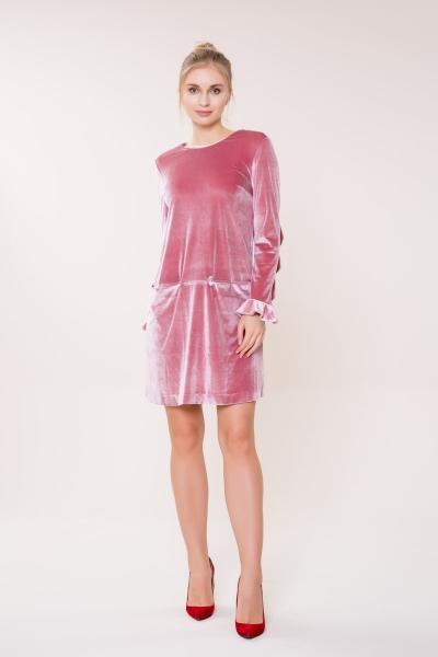 GIZIA CASUAL - Uzun Kollu Pembe Kadife Elbise