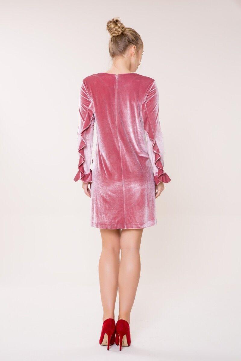 Uzun Kollu Pembe Kadife Elbise