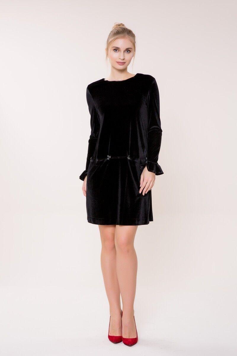 GIZIA CASUAL - Uzun Kollu Siyah Kadife Elbise