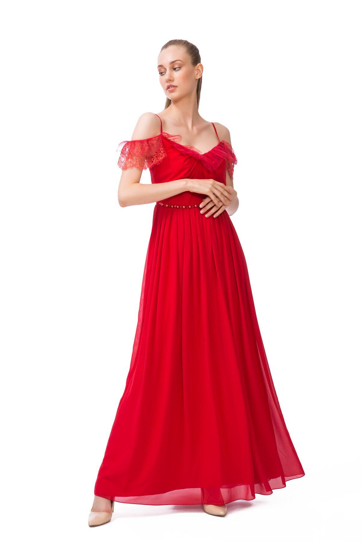 Kırmızı İp Askılı Elbise