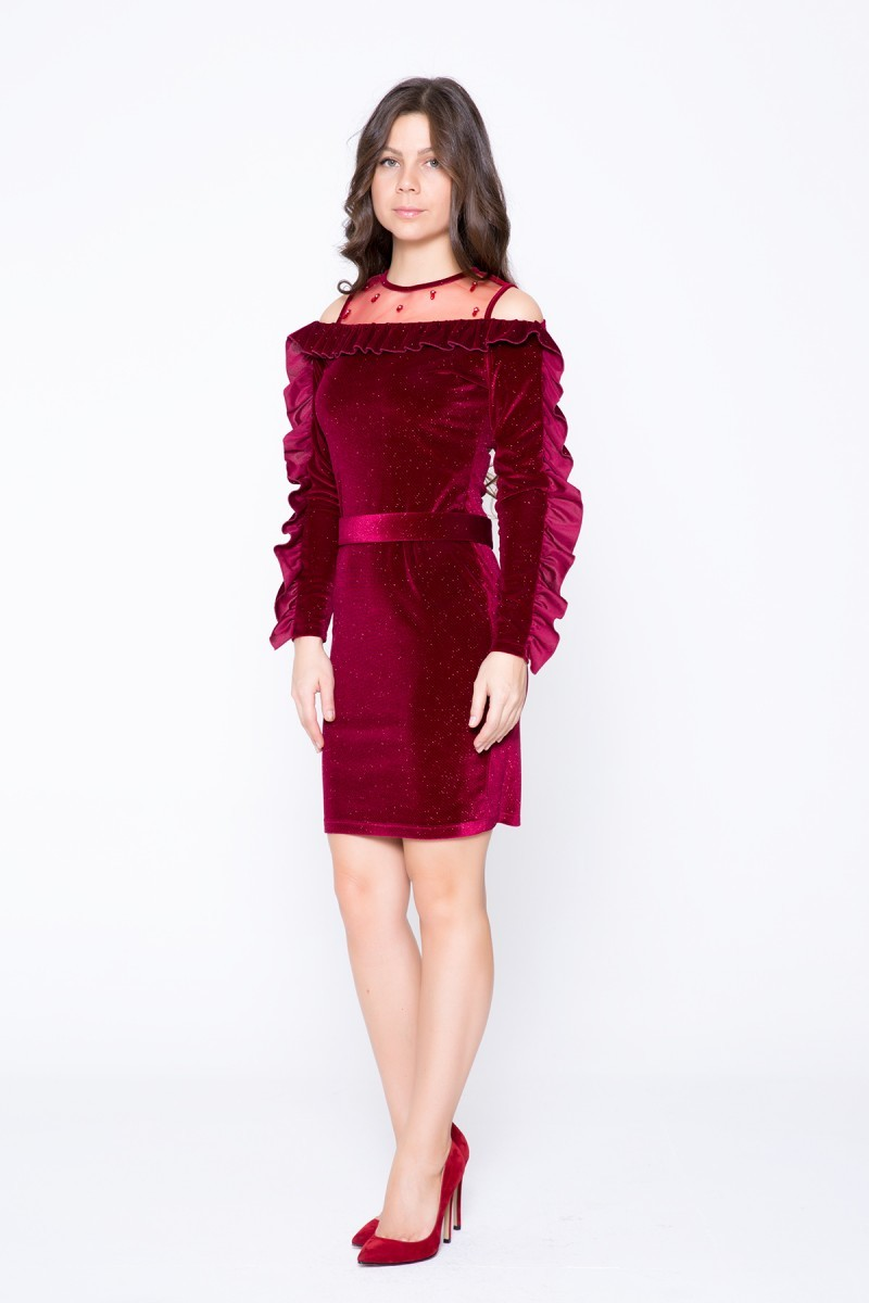 Kol Detaylı Bordo Mini Elbise