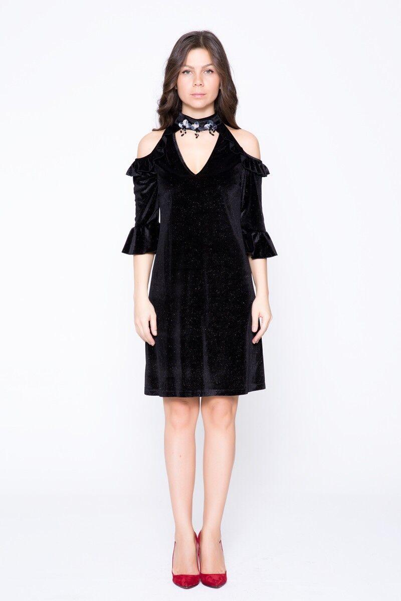 GIZIA CASUAL - Omuz Pencereleri Boyun Detaylı Mini Elbise