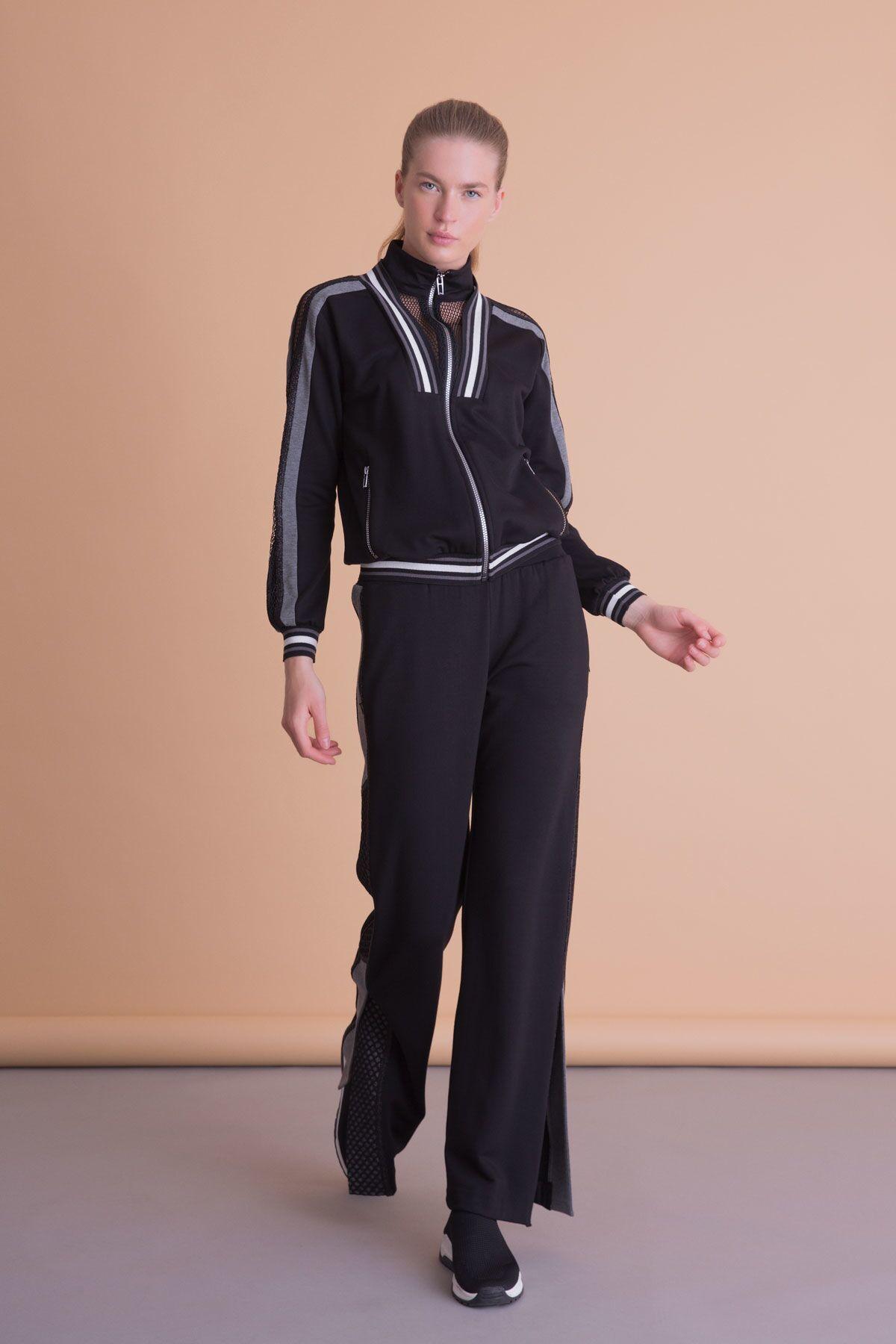 File Şerit Detaylı Fermuarlı Siyah Sweatshirt