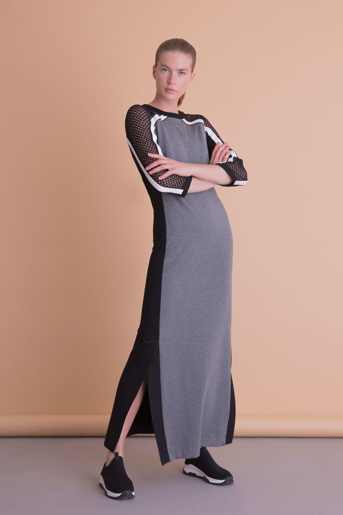 File Şerit Detaylı Uzun Gri Spor Elbise