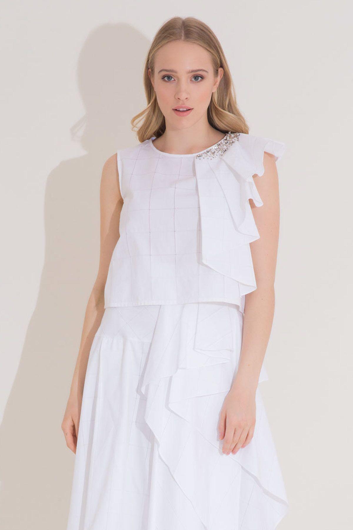 Fırfır Detaylı İşlemeli Beyaz Poplin Bluz