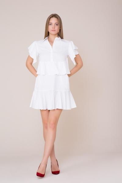 GIZIA CASUAL - Fırfır Detaylı Mini Beyaz Elbise