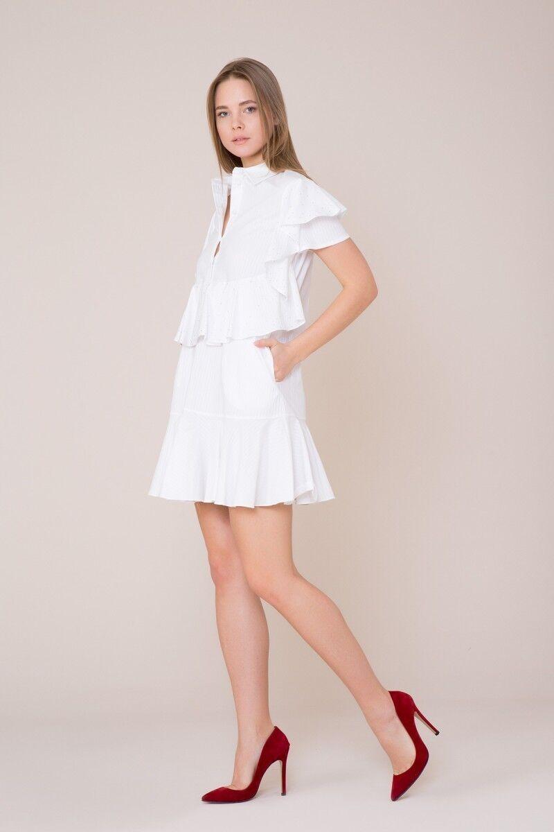 Fırfır Detaylı Mini Beyaz Elbise