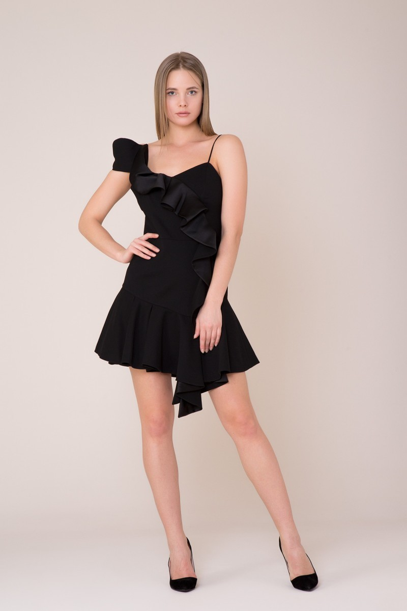 GIZIA - Fırfır Detaylı Mini Siyah Elbise
