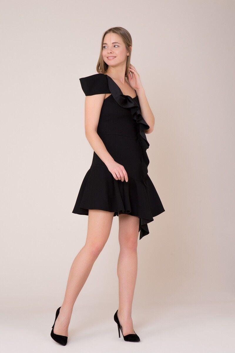 Fırfır Detaylı Mini Siyah Elbise