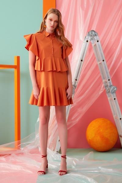 GIZIA CASUAL - Fırfır Detaylı Turuncu Mini Elbise