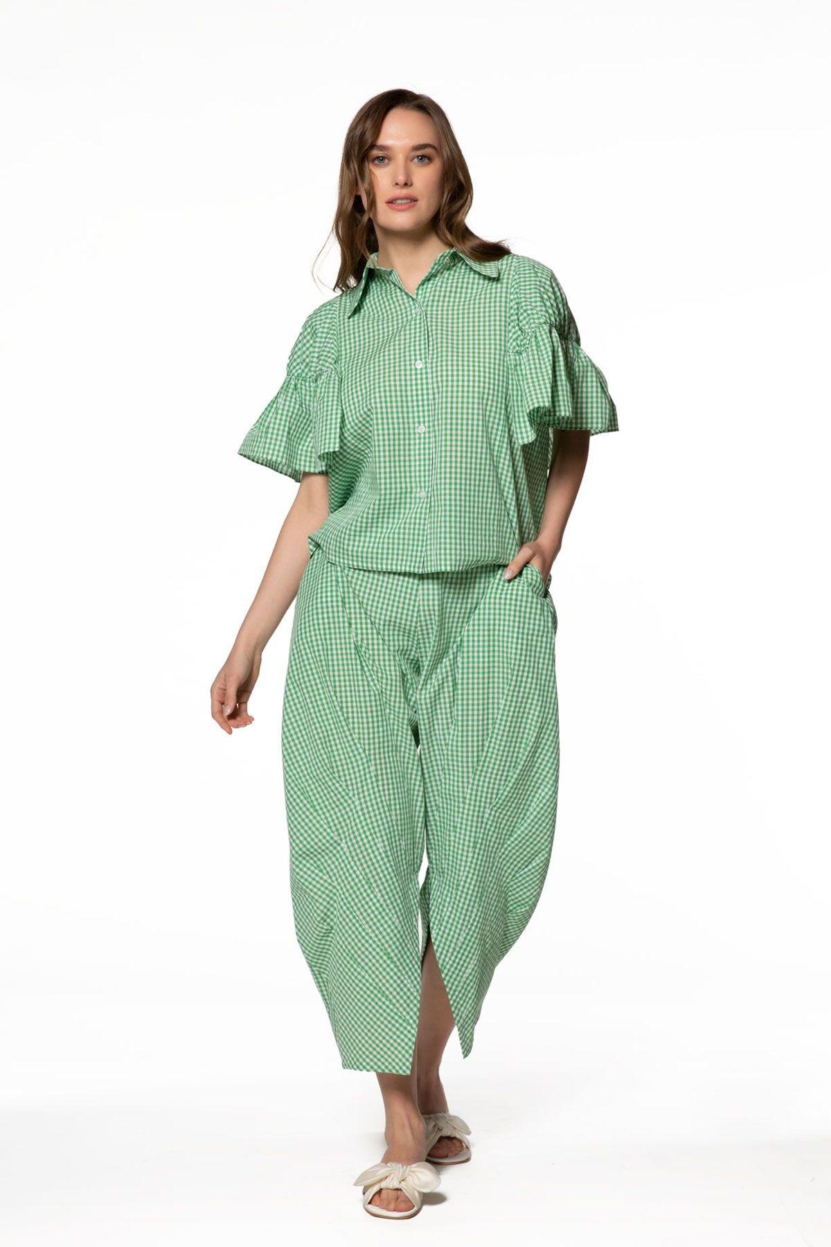 Fırfır Detaylı Yeşil Gömlek