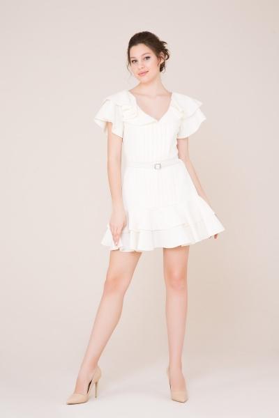 GIZIA CASUAL - Fırfır ve Kemer Detaylı Ekru Mini Elbise