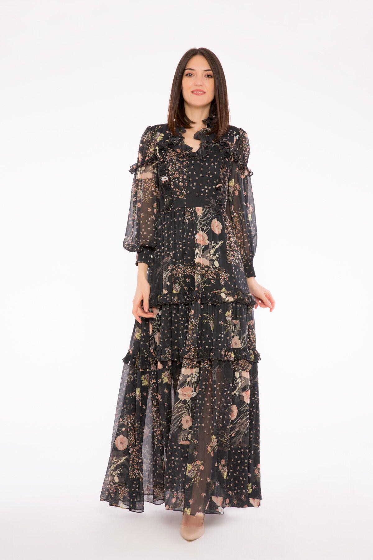 Fırfır Detaylı Bağcık Yakalı Uzun Desenli Şifon Elbise