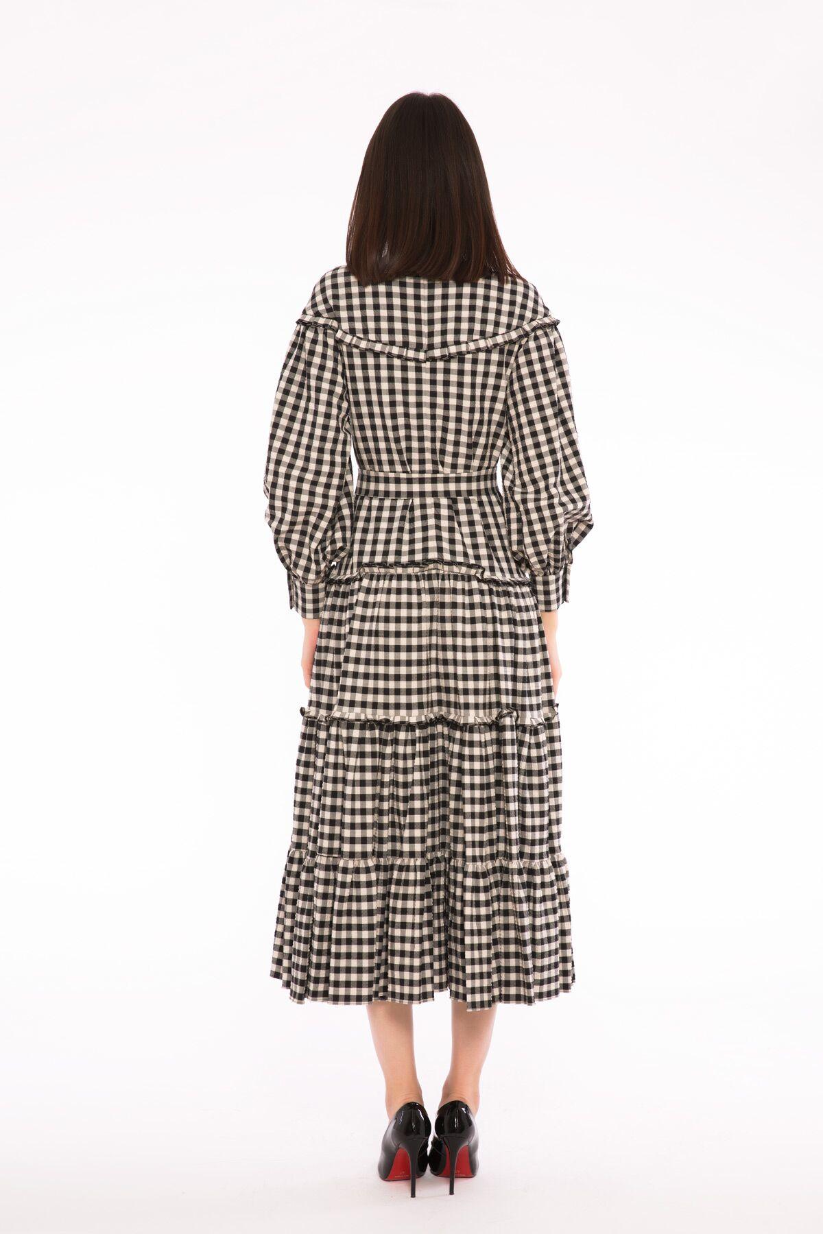 Fırfır Detaylı İşleme Aksesuarlı Ekose Uzun Elbise