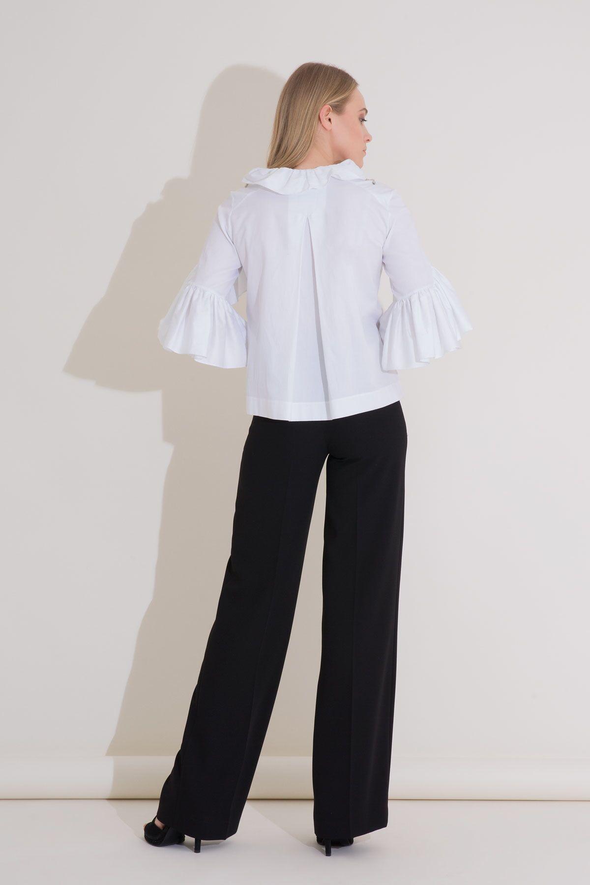 Fırfırlı Omuz İşlemeli Beyaz Poplin Bluz