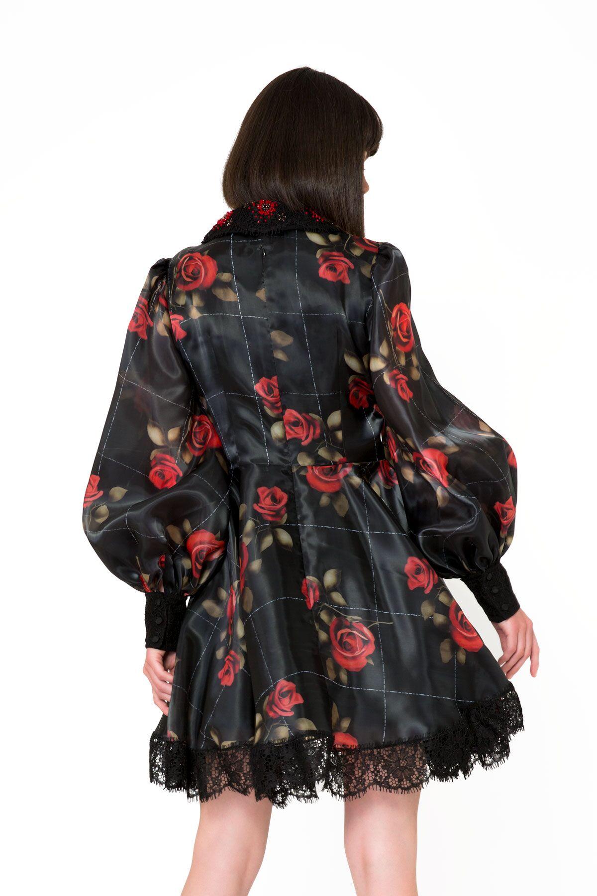 Floral Pattern Lace Detailed Black Mini Dress