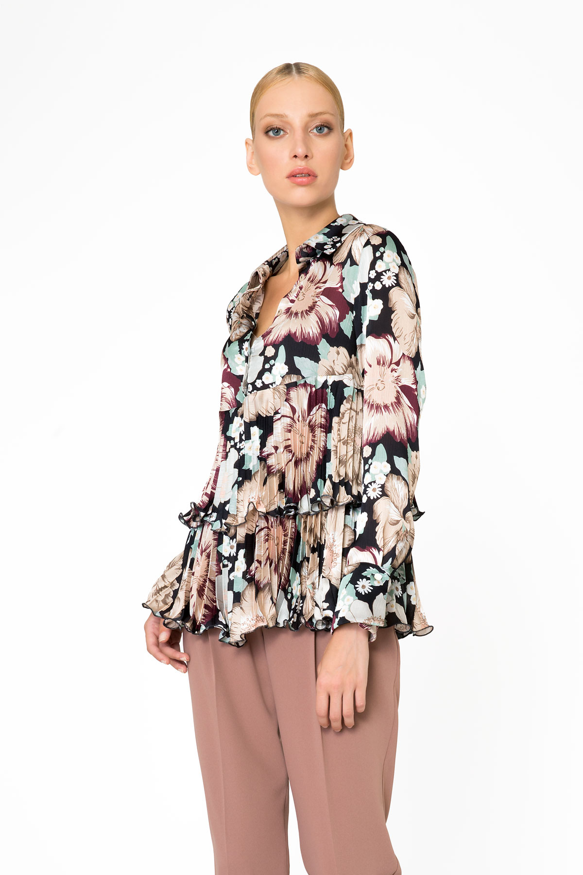 Floral Pattern Long Sleeve Blouse