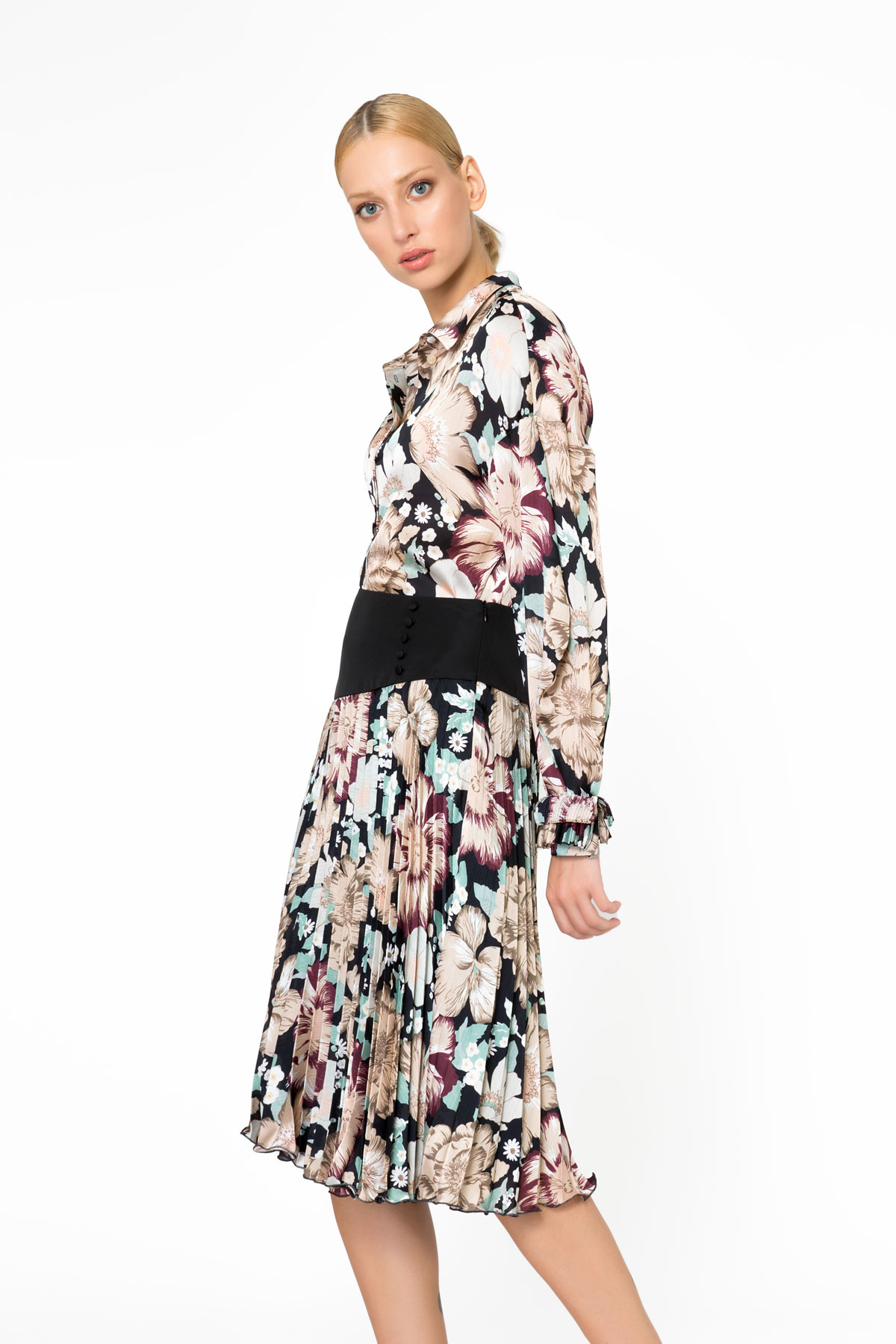 Floral Pattern Pleated Midi Skirt