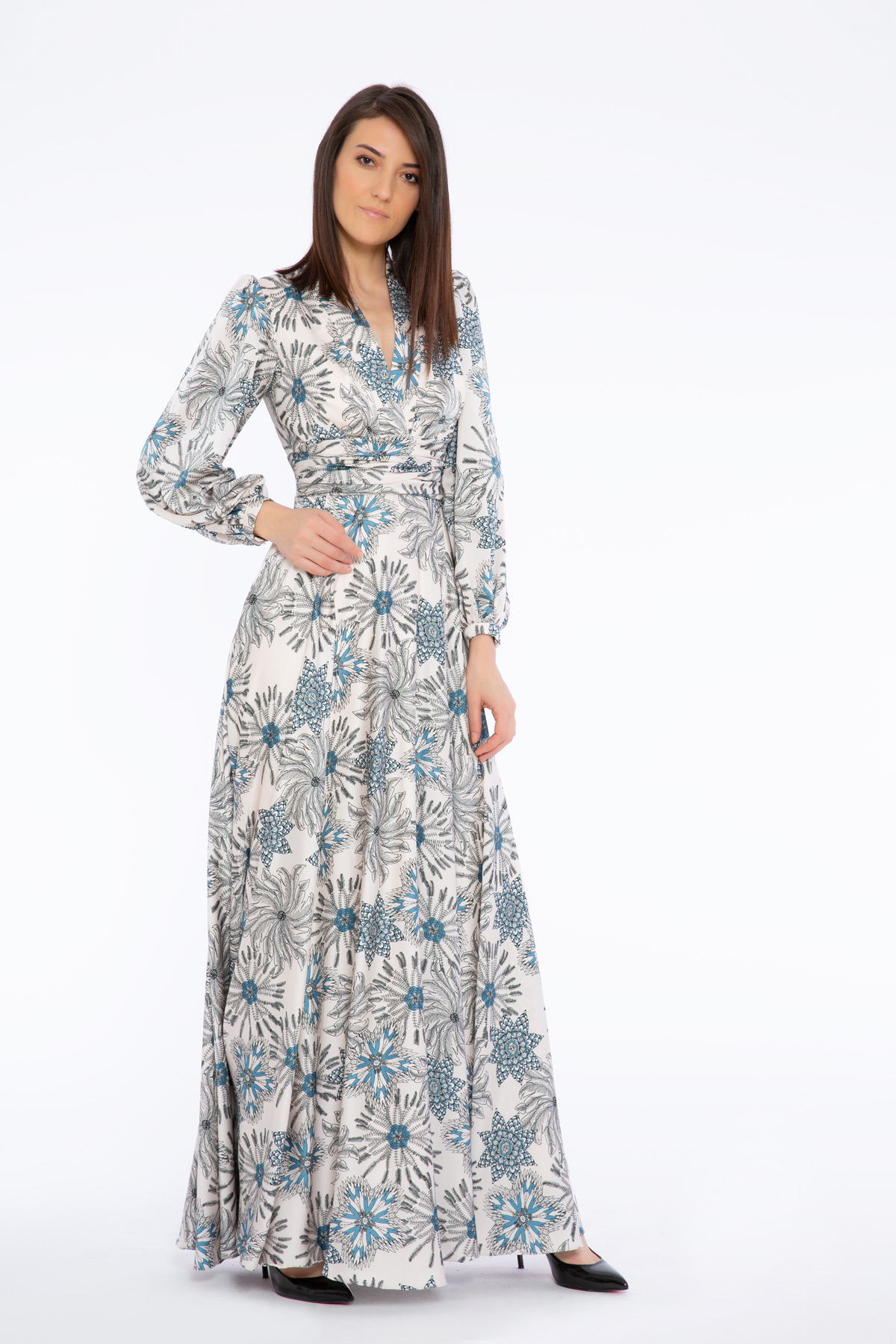 Floral Pattern V Neck Long Dress