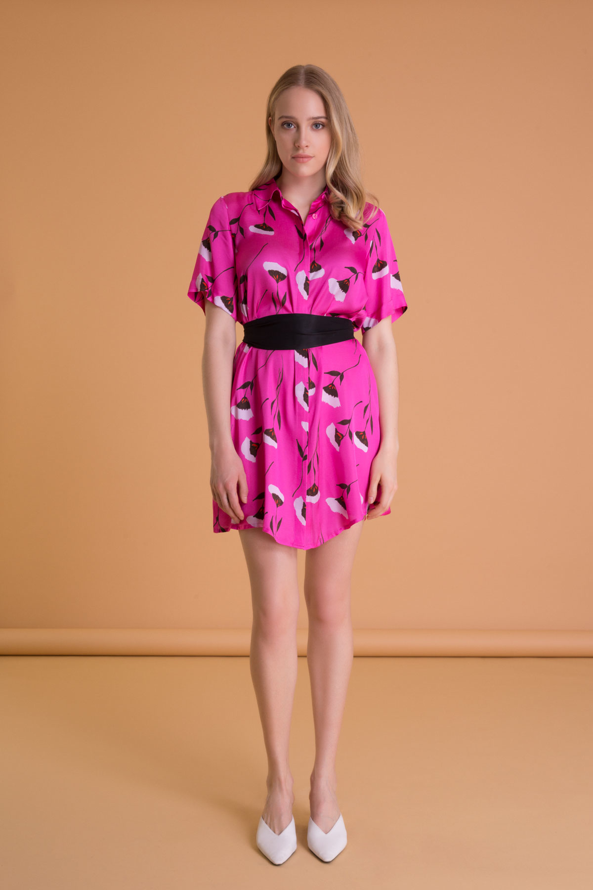 Flower Pattern Belted Fuchsia Mini Dress