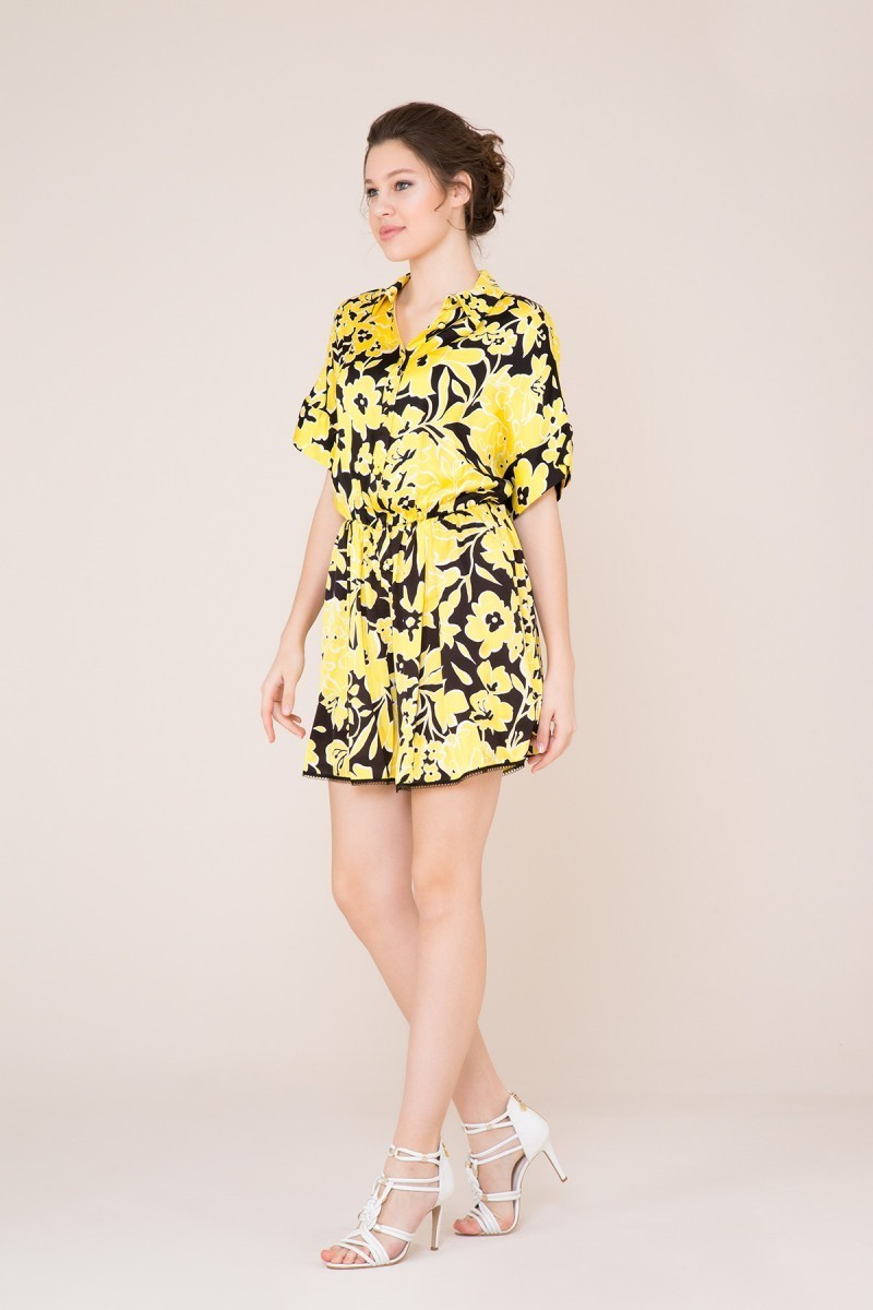 Flower Patterned Yellow Mini Overalls
