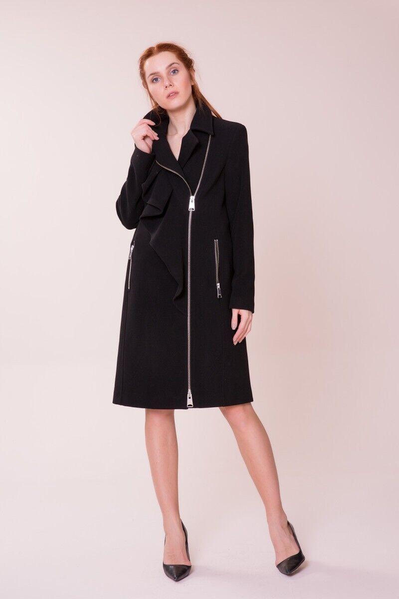 Frill Detailed Black Coat
