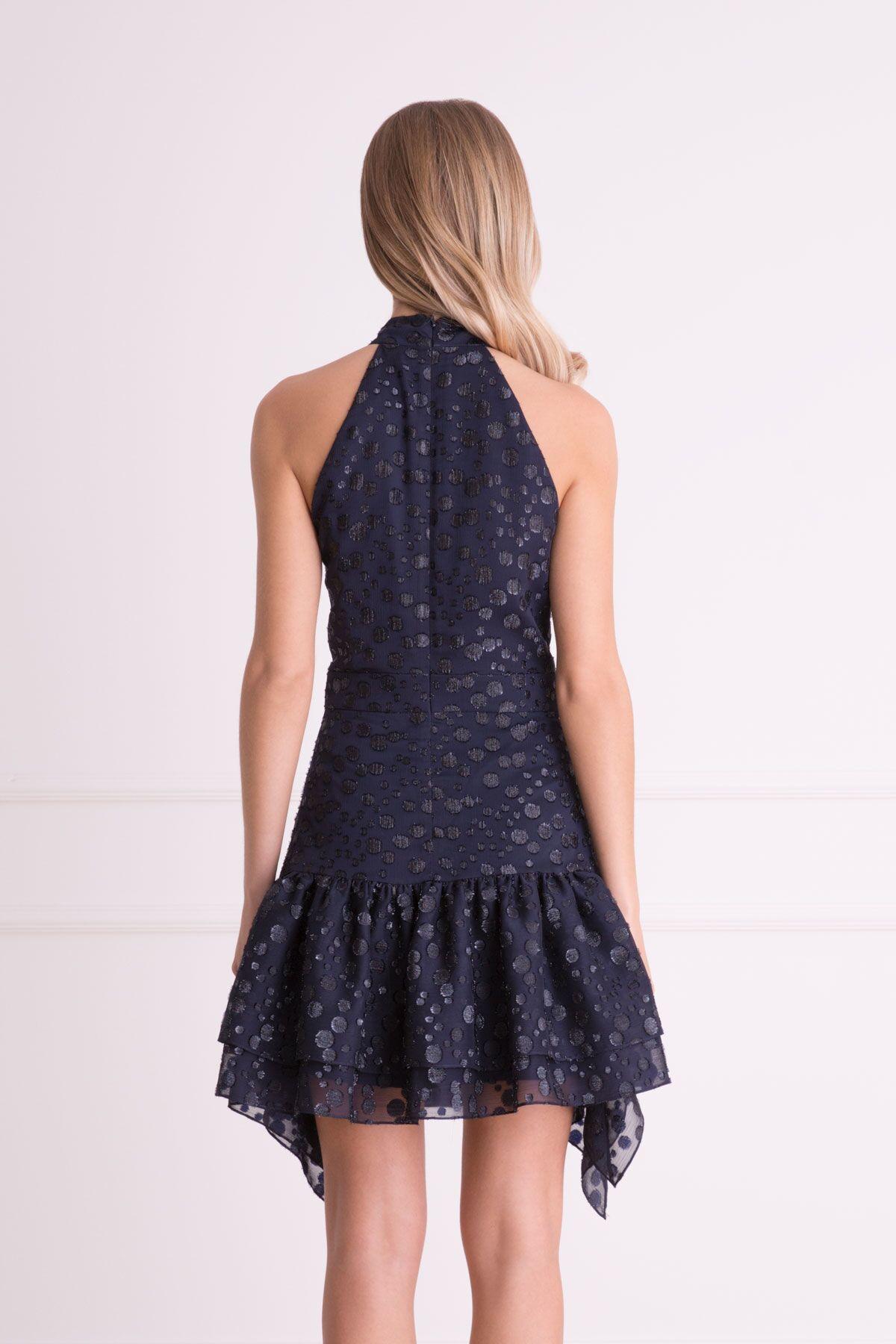 Fular Detaylı Lacivert Mini Elbise