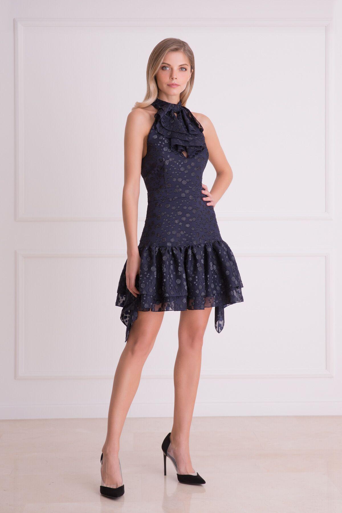GIZIA - Fular Detaylı Lacivert Mini Elbise
