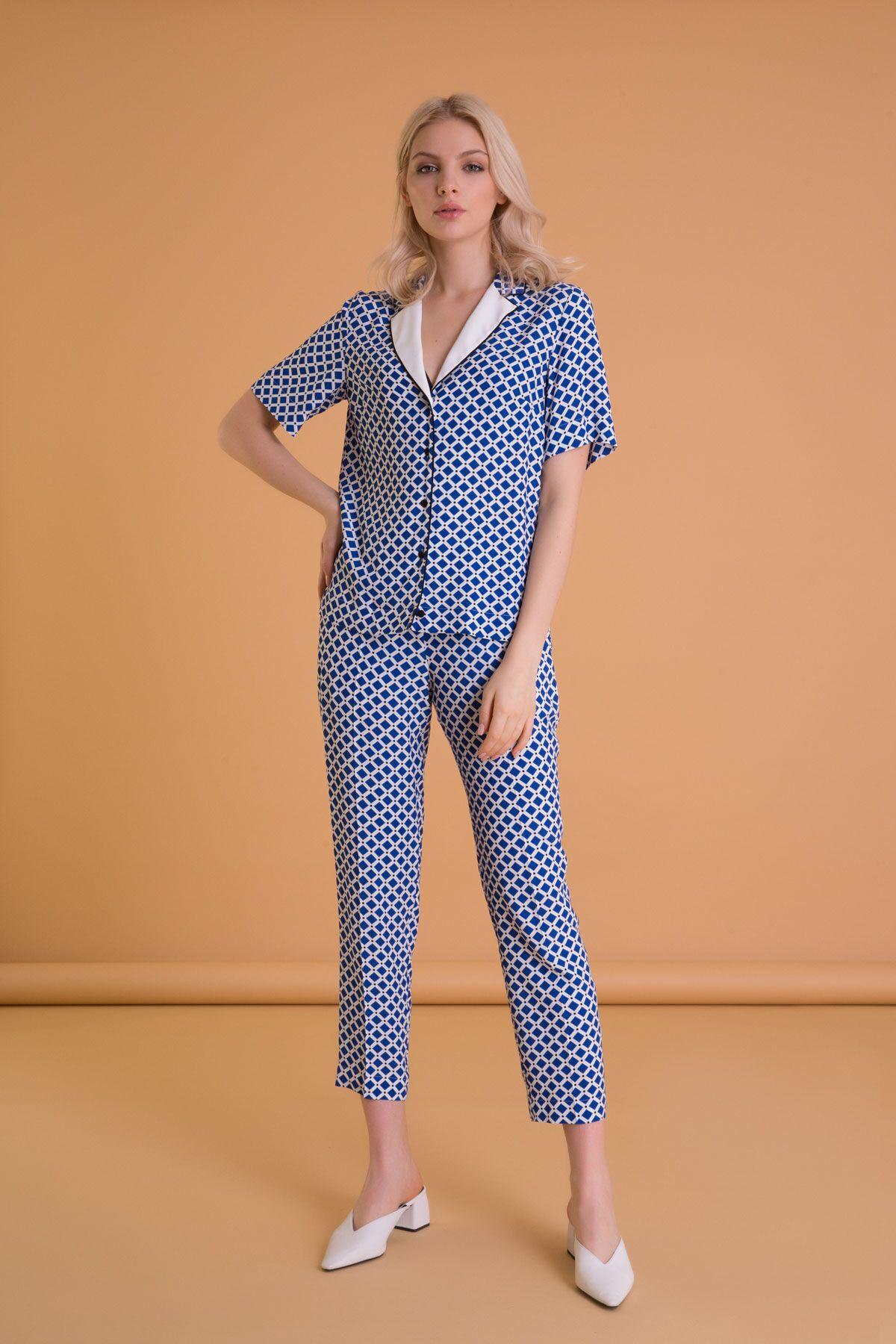Geometrik Desenli Havuç Kesim Mavi Pantolon