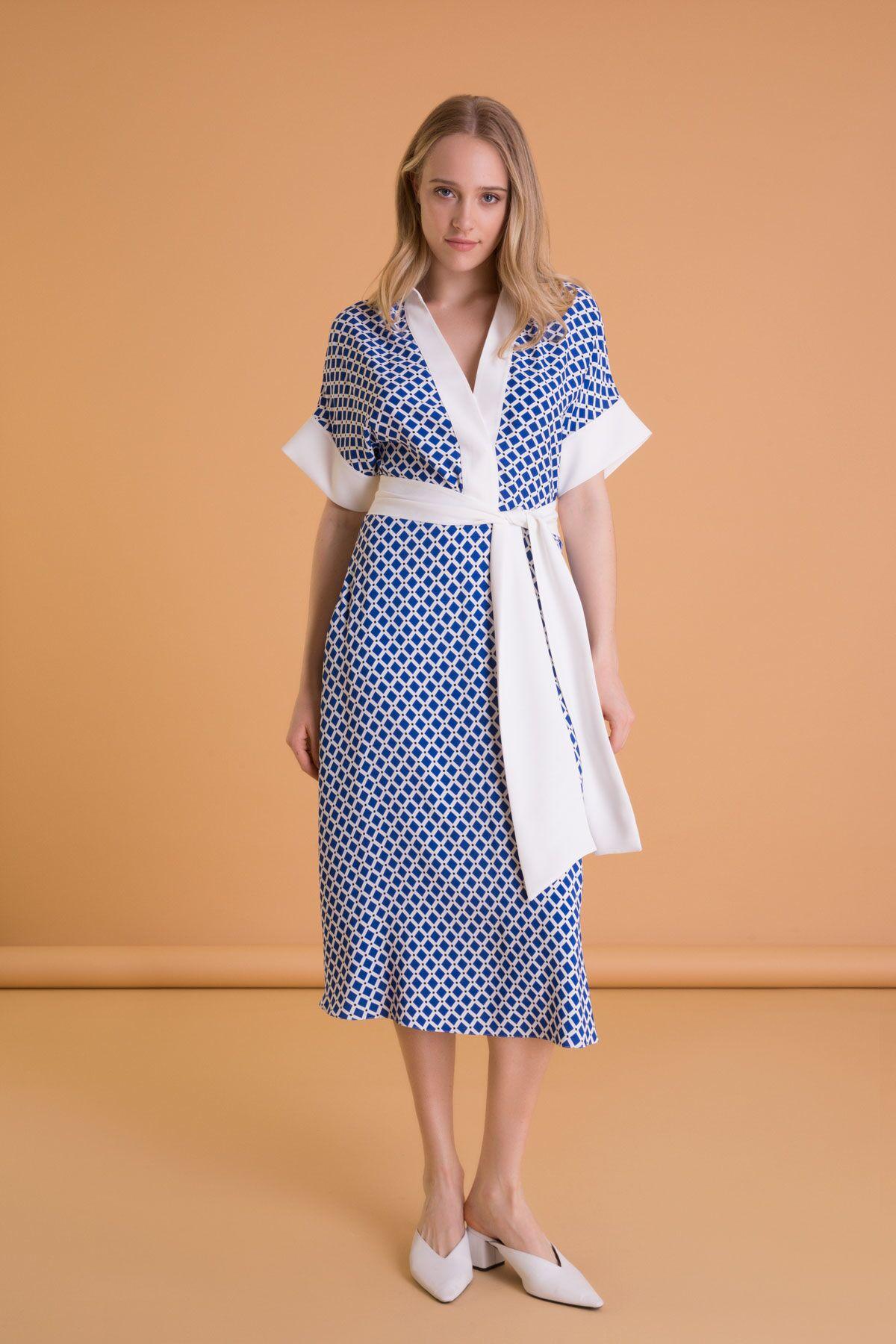 Geometrik Desenli Saks Mavi Kloş Midi Elbise