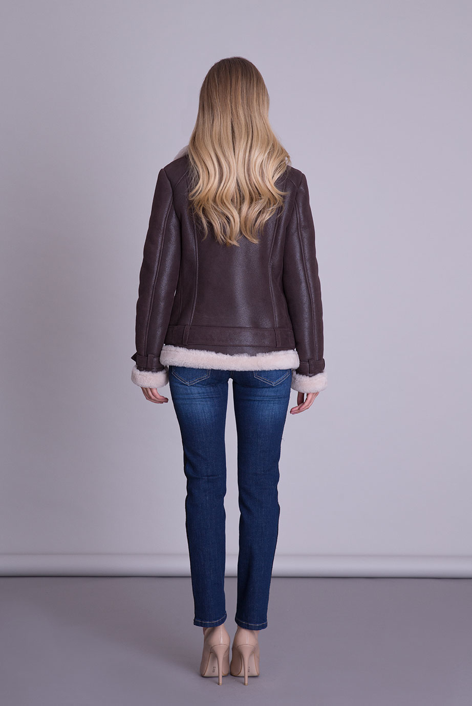 Kürk Detaylı Kahverengi Deri Ceket
