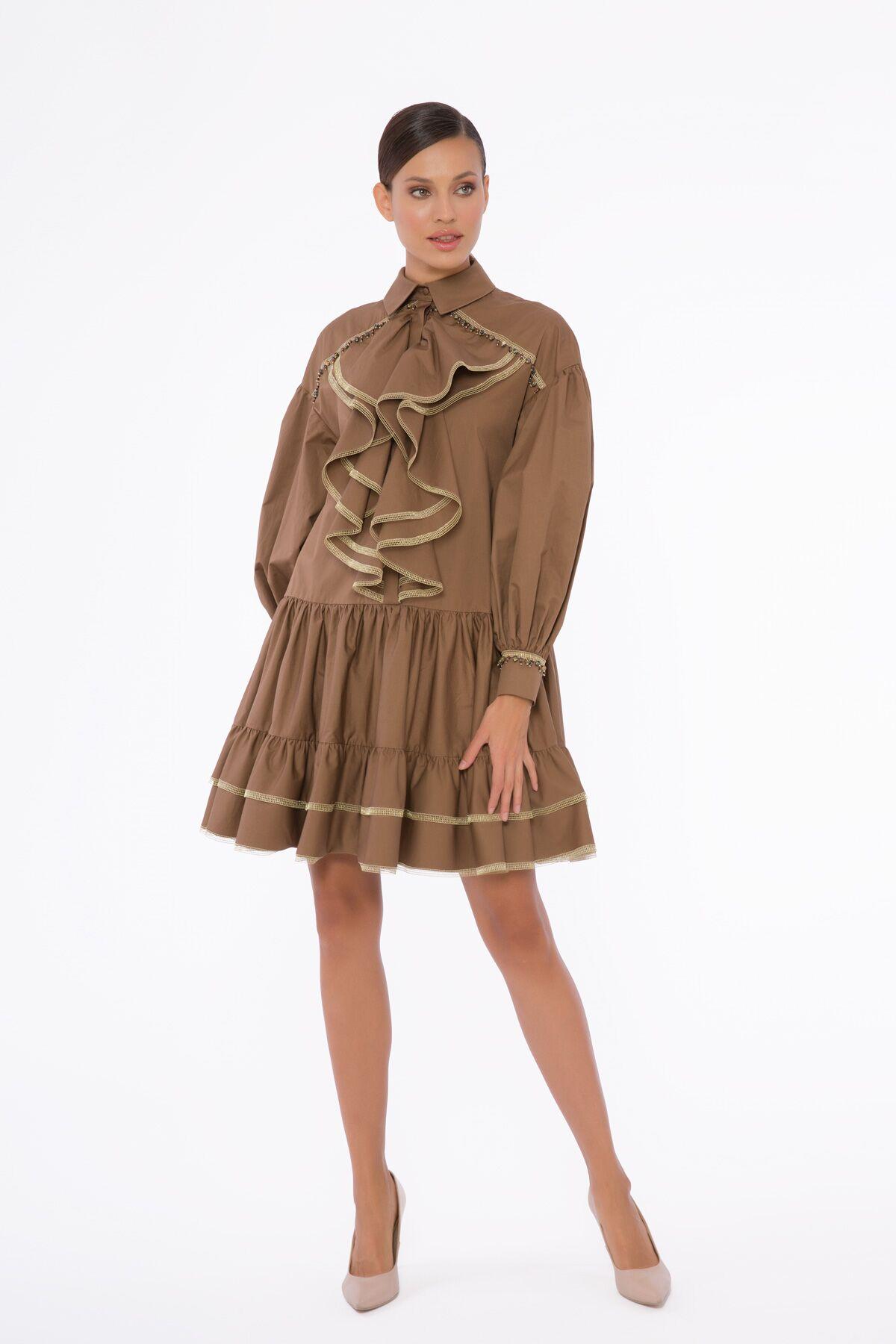 Godeli, Hacimli Kollu Mini Elbise