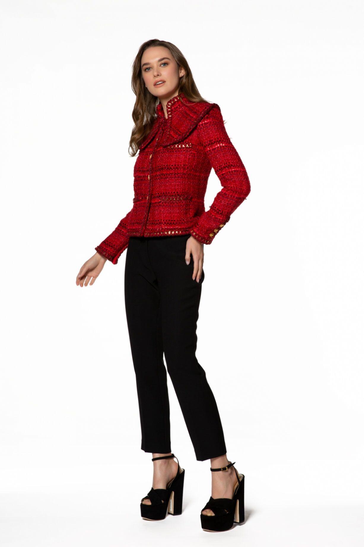 Gold Detaylı Kırmızı Ceket