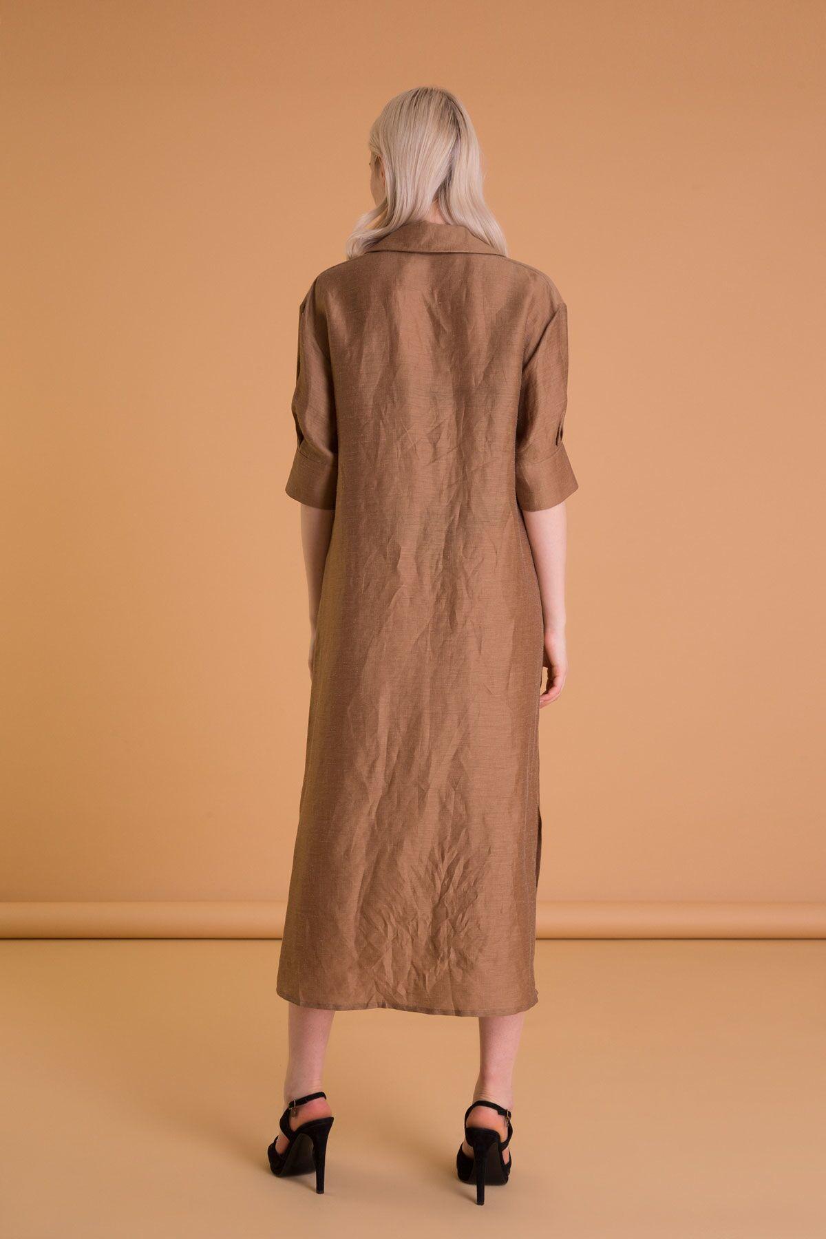 Gömlek Yaka Tütün Rengi Tunik Midi Elbise
